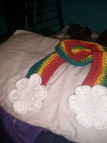 Rainbow Scarf with Clouds pattern